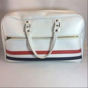 Vintage white red blue stripe travel luggage bag